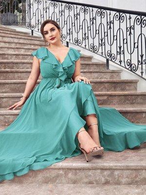 Шифоновое платье размера плюс с поясом и оборкой