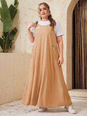 Платье размера плюс с карманом без футболки