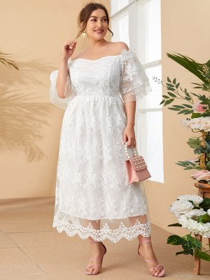 Сетчатое платье с вышивкой размера плюс