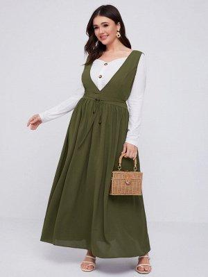 Макси платье размера плюс с узлом