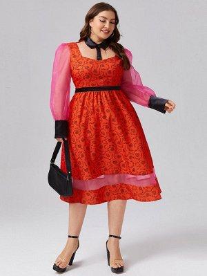 Платье размера плюс с принтом сердечка и пышным рукавом