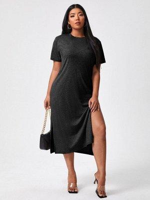 Платье-футболка размера плюс с разрезом
