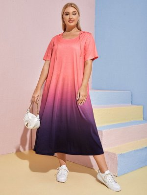 Платье-футболка размера плюс на кулиске
