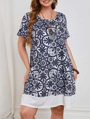 Платье-футболка с цветочным принтом размера плюс