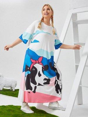 Платье-футболка с принтом коровы размера плюс