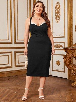 Платье размера плюс с сетчатой отделкой и разрезом