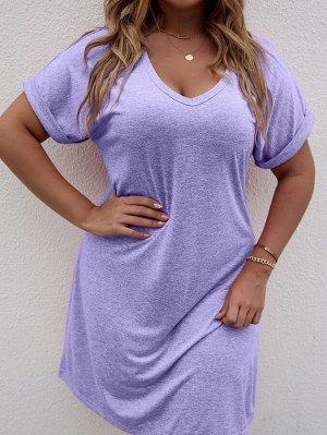 Платье-футболка размера плюс с V-образным воротником