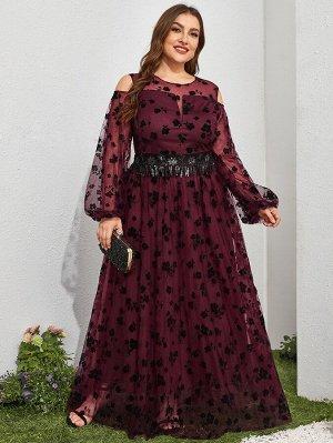 """Размера плюс Платье с цветочным принтом с блестками с рукавом """"епископ"""""""