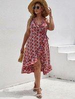 Размера плюс Платье с запахом с цветочным принтом с узлом с оборками