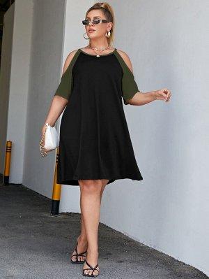 Платье-футболка размера плюс с открытыми плечами