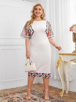 Платье размера плюс с цветочным принтом и рукавом из органзы