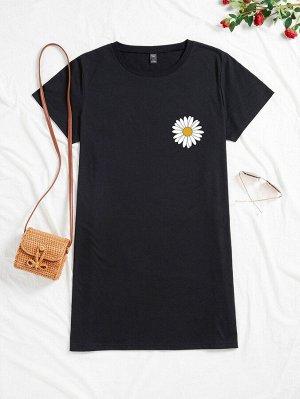 Платье-футболка размера плюс с принтом маргаритки