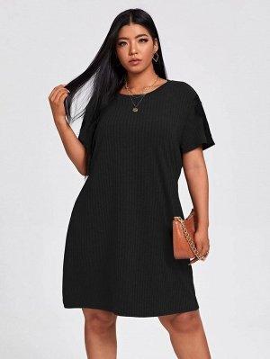 Размера плюс Платье-футболка с кружевной отделкой