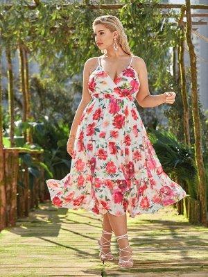 Размера плюс Платье на бретелях с цветочным принтом с v-образным воротником с оборками