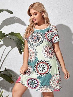 Размера плюс Платье-футболка с цветочным принтом
