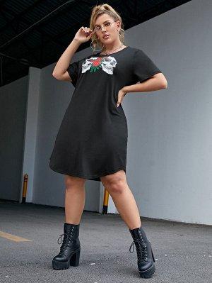 Платье-футболка размера плюс с принтом цветка и черепа