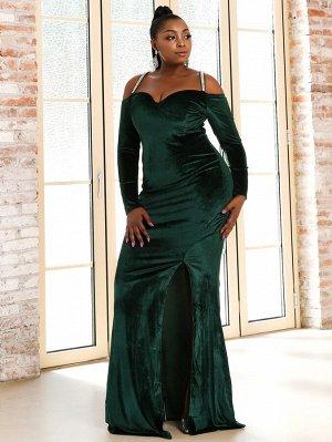 Seomiscky размера плюс Вечернее платье со стразами с перекрещенной спинкой бархатный