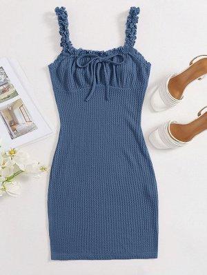 Трикотажное платье размера плюс с узлом