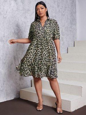Размера плюс Платье с оборками с леопардовым принтом