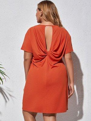 Размера плюс Платье-футболка с драпировкой с разрезом сзади