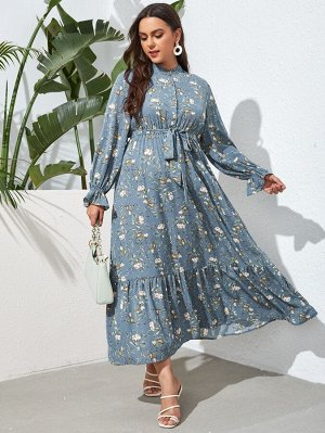 Размера плюс Платье с поясом с цветочным принтом с рукавами-воланами с воротником-стойкой
