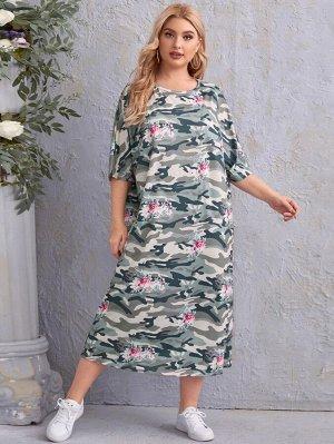 Платье-футболка размера плюс с камуфляжным принтом
