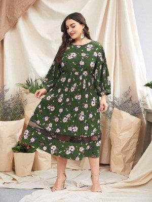 Платье размера плюс с цветочным принтом и сетчатой вставкой