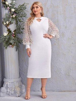 Платье размера плюс с оригинальным рукавом и 3D аппликацией