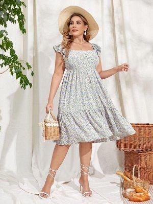 Платье с цветочным принтом и цветочным принтом размера плюс