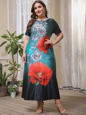 Платье-футболка размера плюс с цветочным принтом