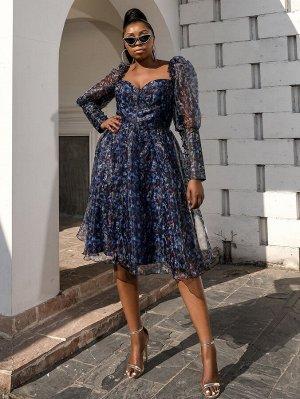 Платье размера плюс с длинным рукавом