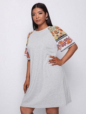 Размера плюс Платье-футболка цветочным рисунком с рукавом-реглан