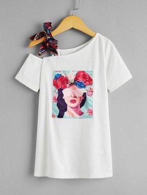 Платье-футболка с цветочным и графическим принтом для девочек