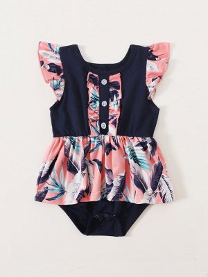 Для девочек с тропическим принтом с оборкой Составной комплект Боди Платье