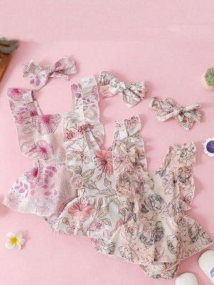 Детский с цветочным принтом 1 Составной комплект Боди Платье & 1 Ободок для волос