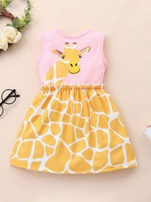 Платье с узором жирафы для девочек