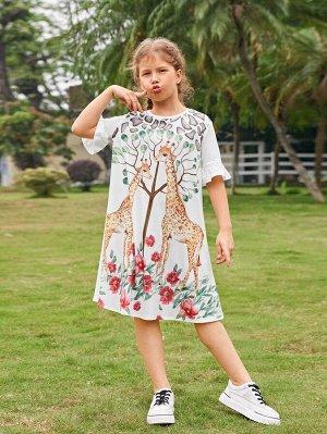 Платье с принтом цветка и жирафы для девочек