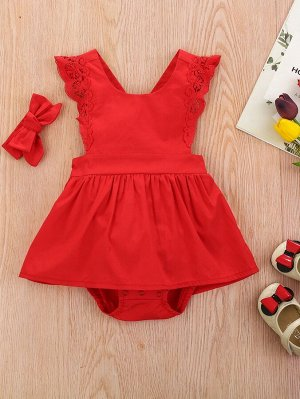 Для девочек с кружевной отделкой Составной комплект Боди Платье & Ободок для волос