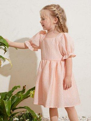 Платье с воланами на рукавах для девочек