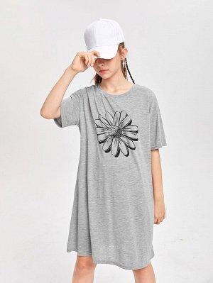 Платье-футболка с цветочным принтом для девочек-подростков