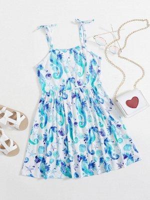 Платье на бретельках с принтом морской звезды для девочек