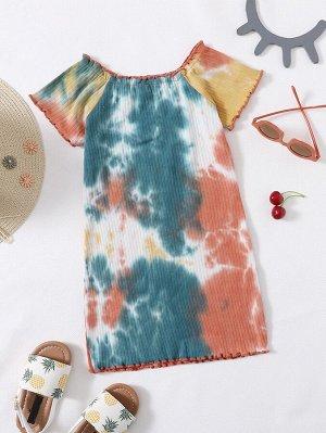Платье-футболка с принтом тай дай для девочек