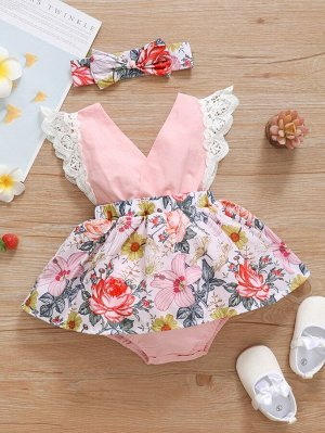 Для девочек с цветочным рисунком с кружевной отделкой Боди Платье & Ободок для волос