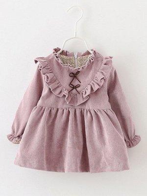 Платье с оборкой из вельвета для девочек