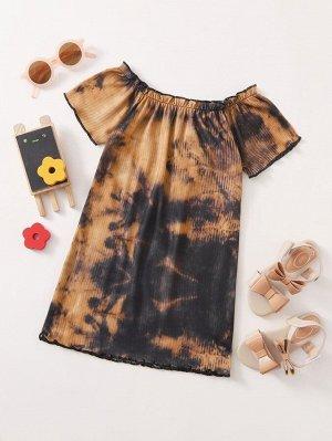 Платье-футболка с принтом тай-дай для девочек
