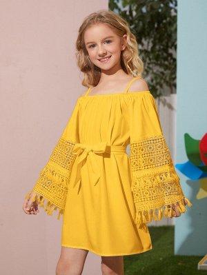 Шифоновое платье с бахромой и поясом для девочек