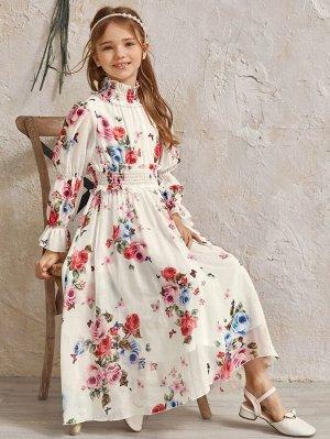 Шифоновое платье с цветочным принтом для девочек