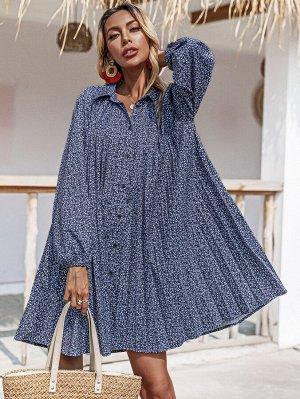 Платье-рубашка с цветочным принтом на пуговицах