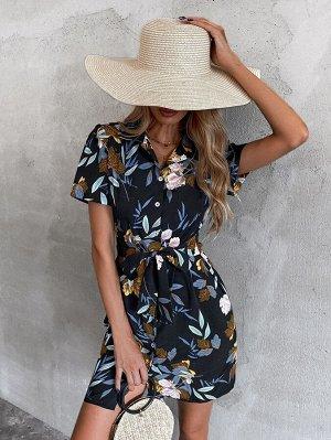 Платье-рубашка цветочным рисунком завязками