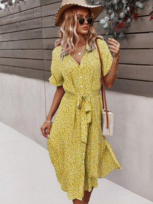 Платье с цветочным принтом на пуговицах